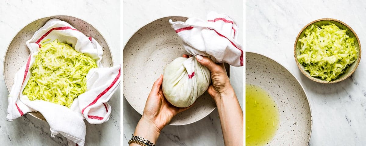 Photos showing how to remove excess water from zucchini