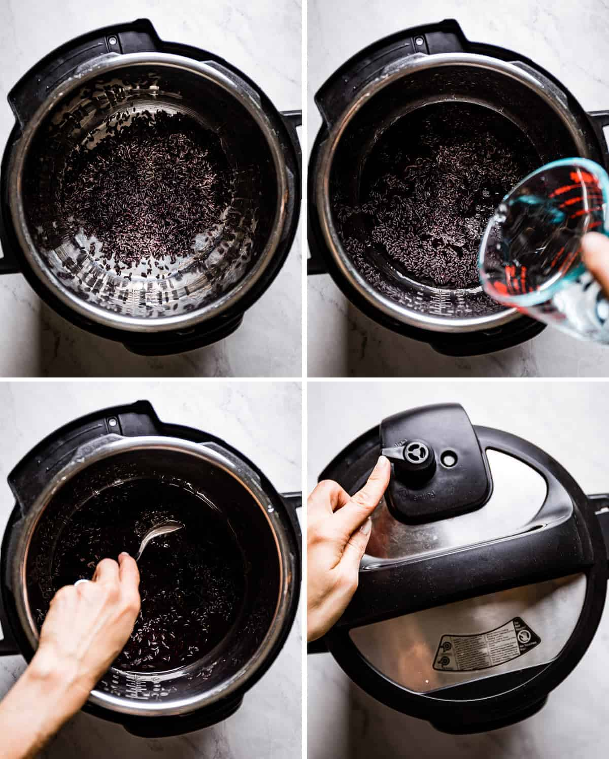 Person showing steps of cooking black japonica rice in a pressure cooker in four how to photos.