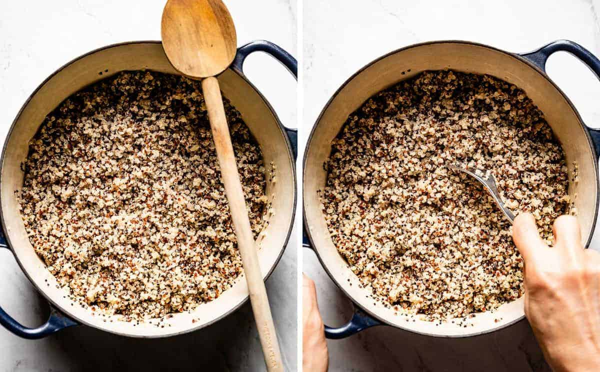 Person fluffing cooked quinoa