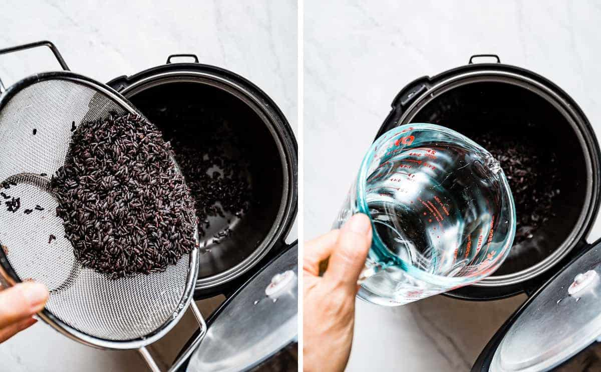 Person showing steps to preparing black forbidden rice in a rice cooker