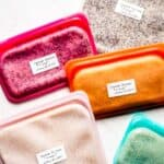 Frozen quinoa packets in different color reusable bags