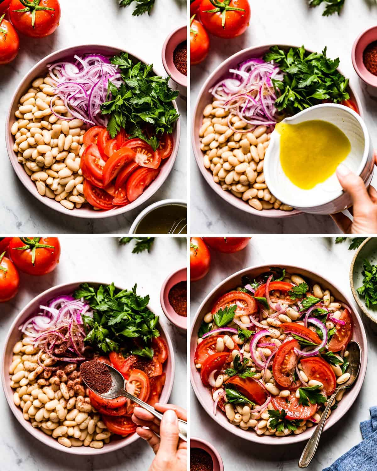Person showing the steps for how to make the recipe for white bean salad with 4 photos
