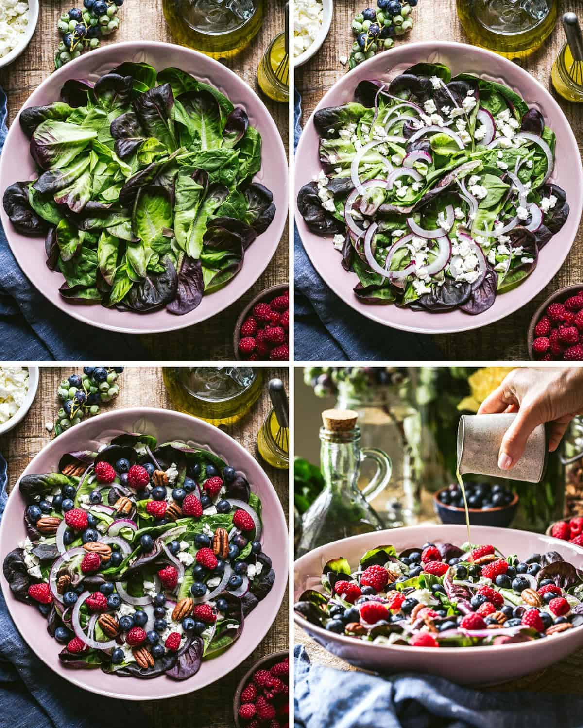 four images showing how to make blueberry salad in stages