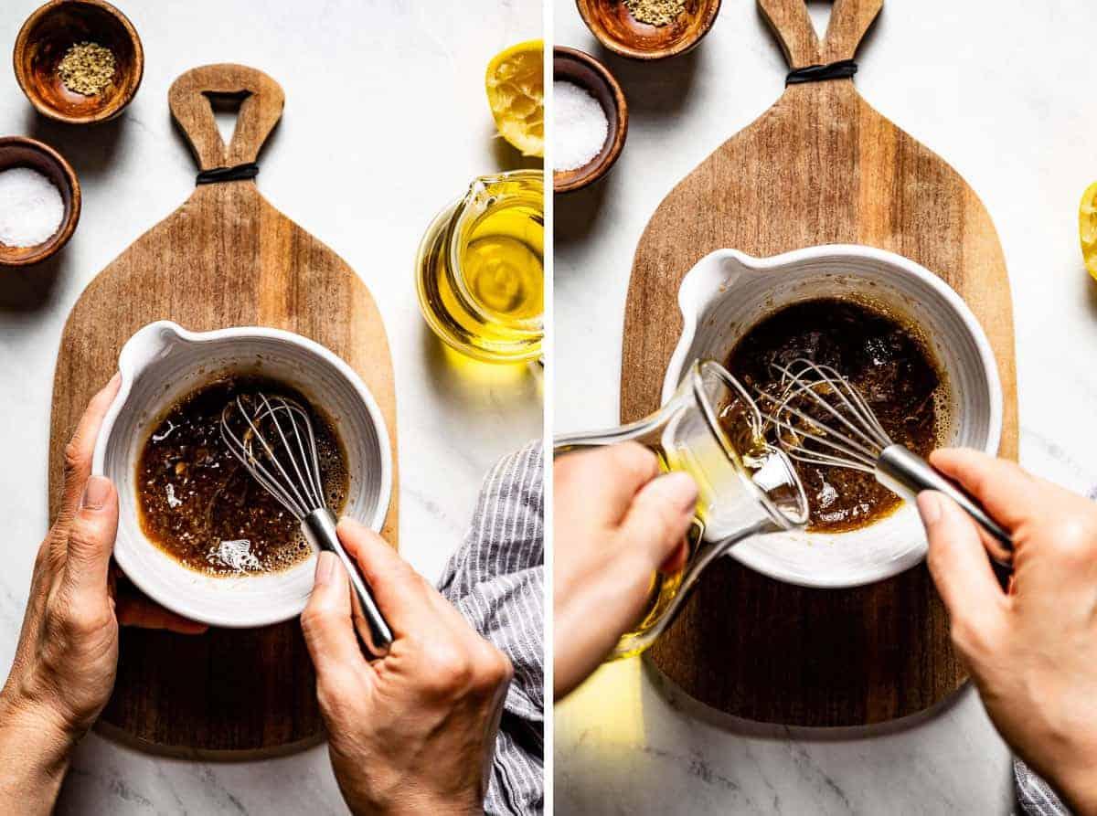 Person showing how to make lemon balsamic vinaigrette recipe