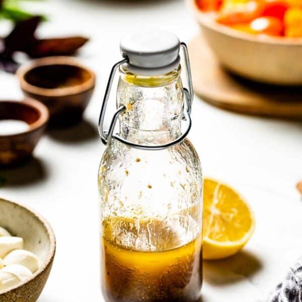 lemon balsamic vinaigrette in a bottle front view