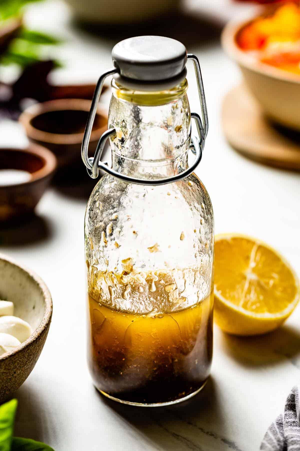 Lemon balsamic dressing in a bottle