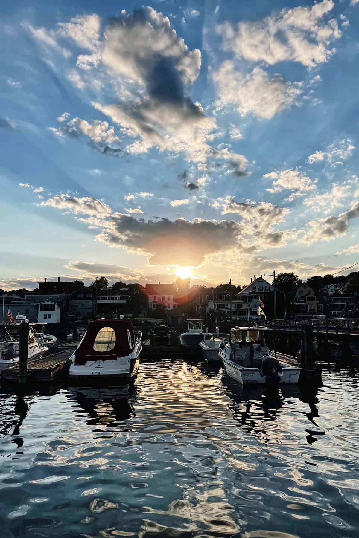 Waterfront with boats in Boothbay Harbor