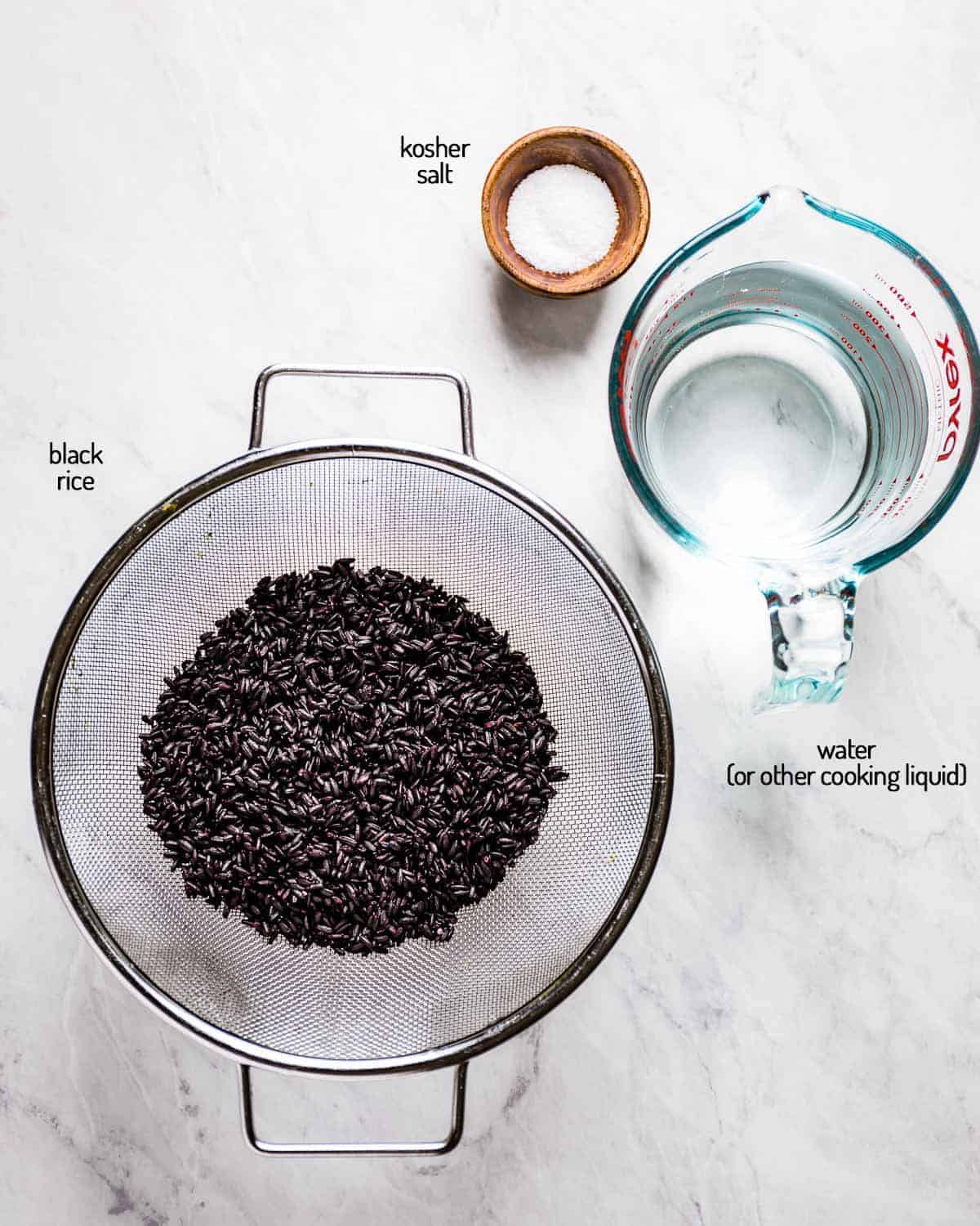 Ingredients for the recipe are on a marble backdrop