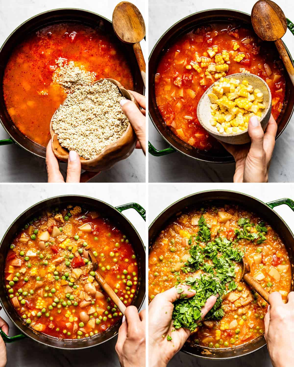 Person shown as she is cooking quinoa vegetable stew in four photos