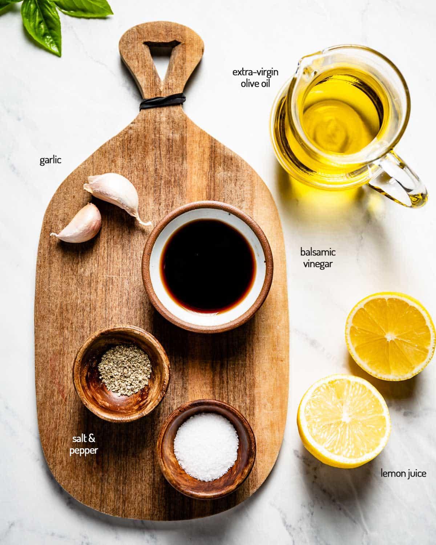 Lemon Balsamic Vinaigrette ingredients from the top view