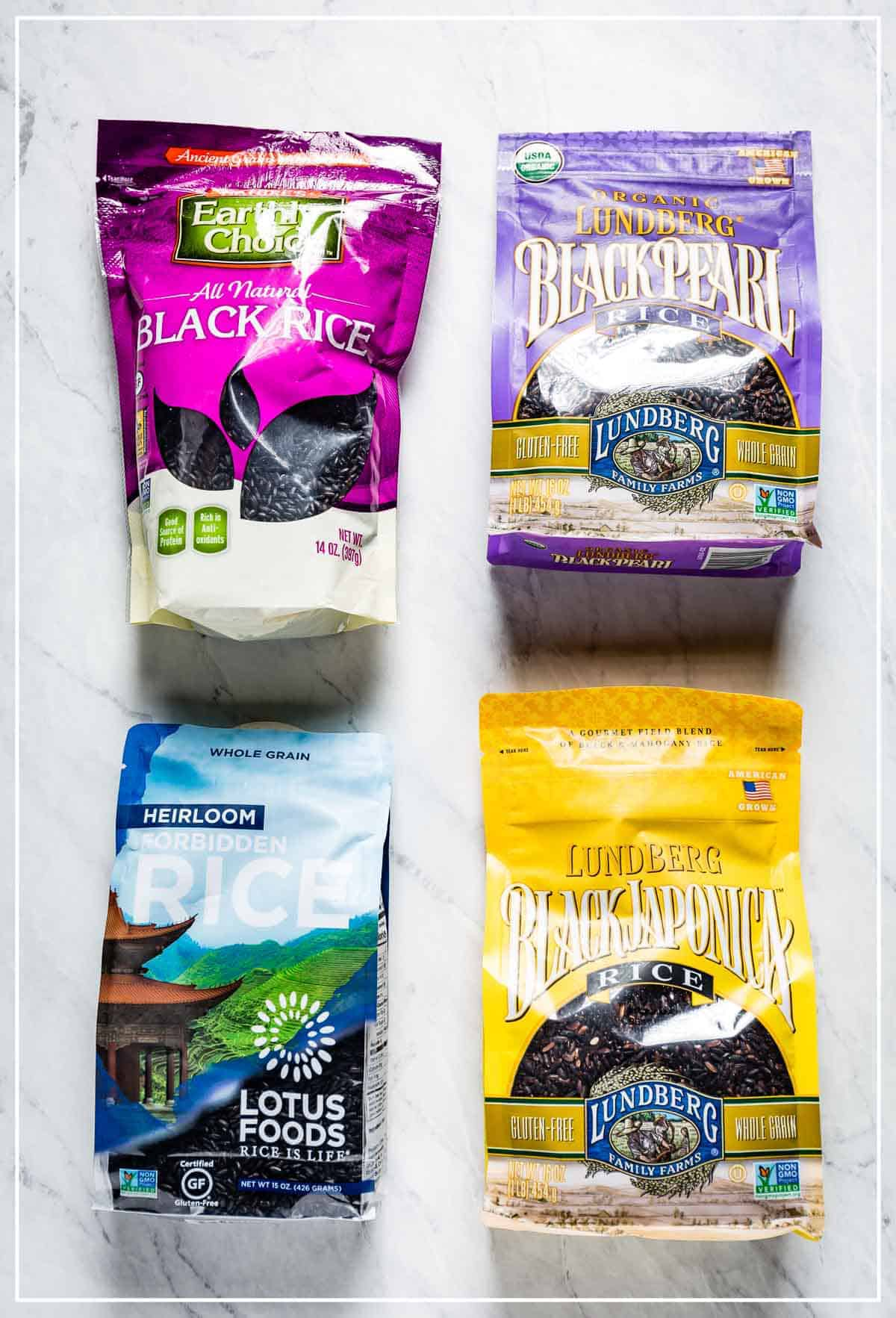 Popular black rice brands sold in the US in their packaging