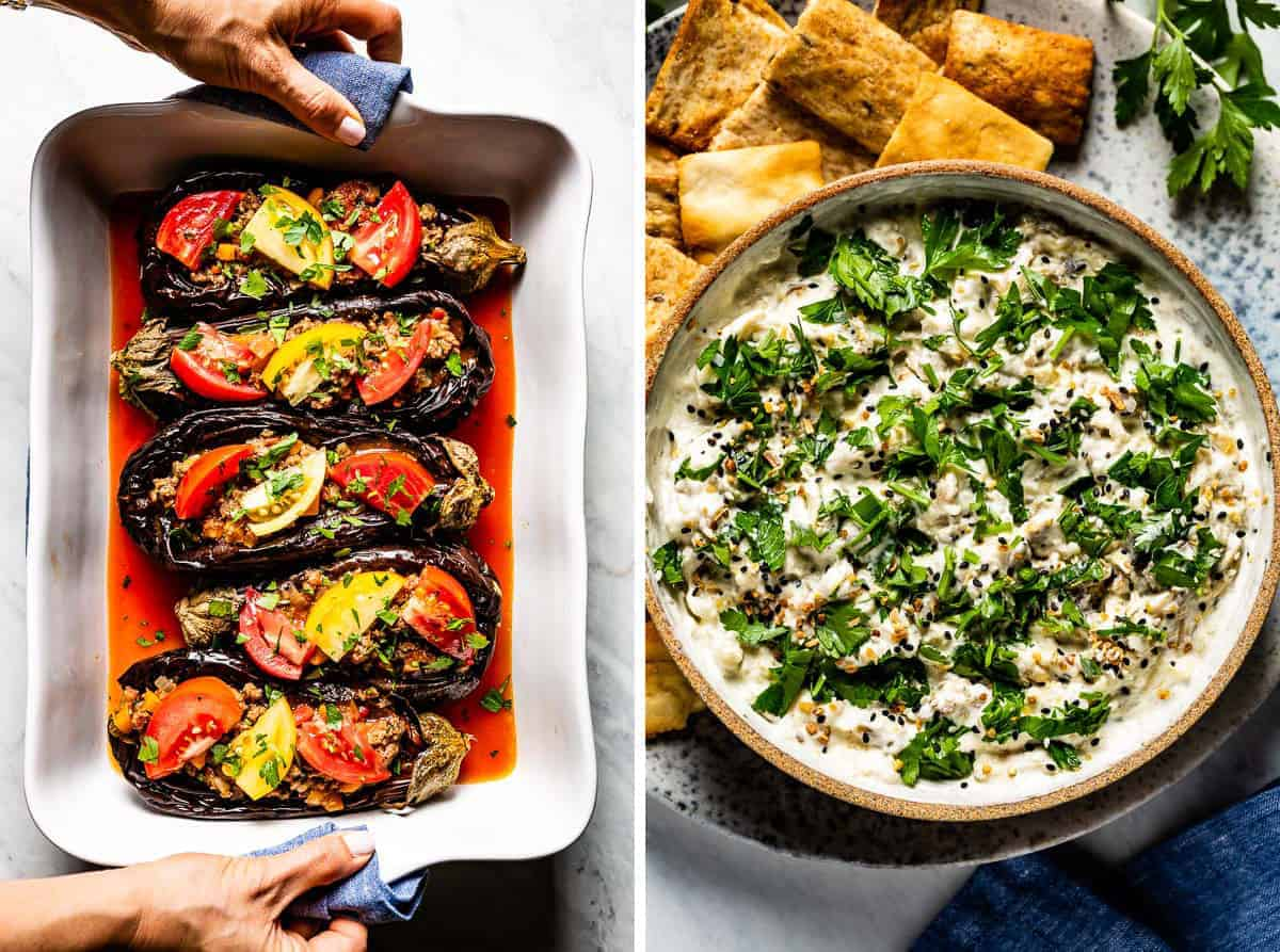 Eggplant recipes, karniyarik and eggplant yogurt side by side