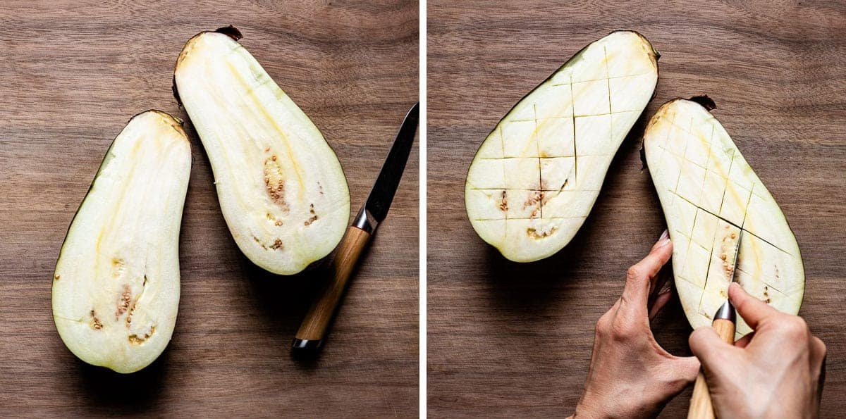 Person showing how to score eggplant halves
