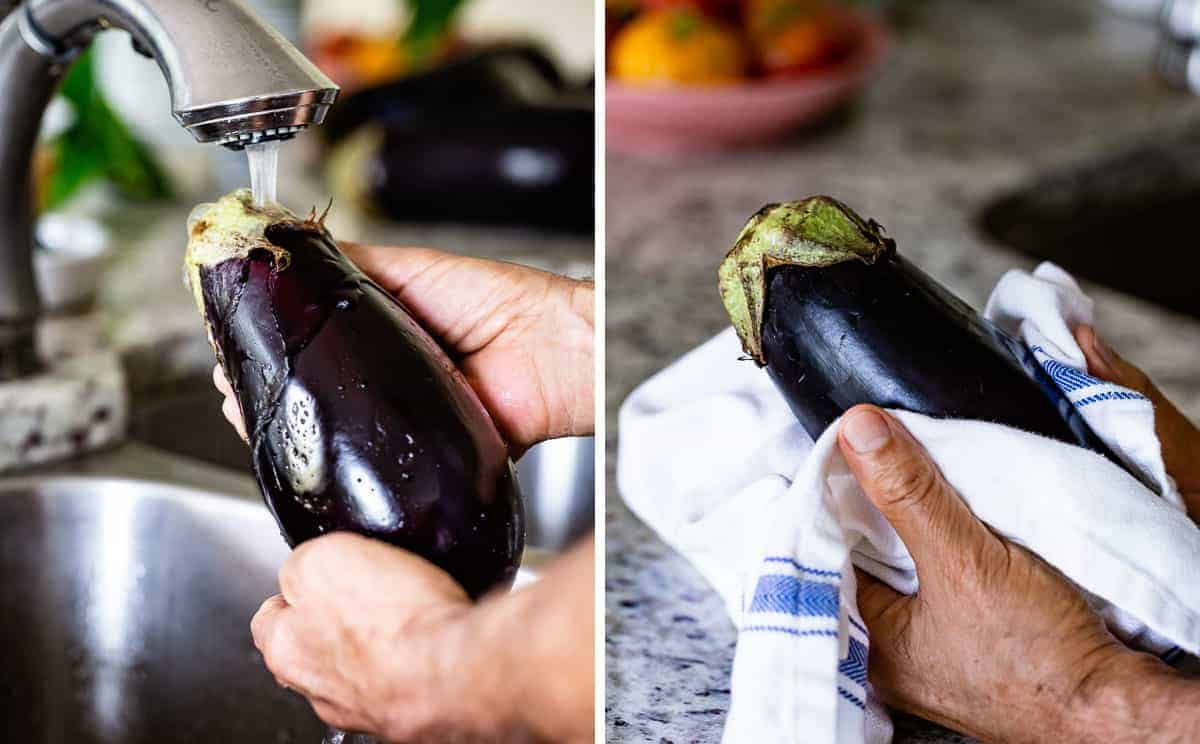 Person washing and drying eggplants