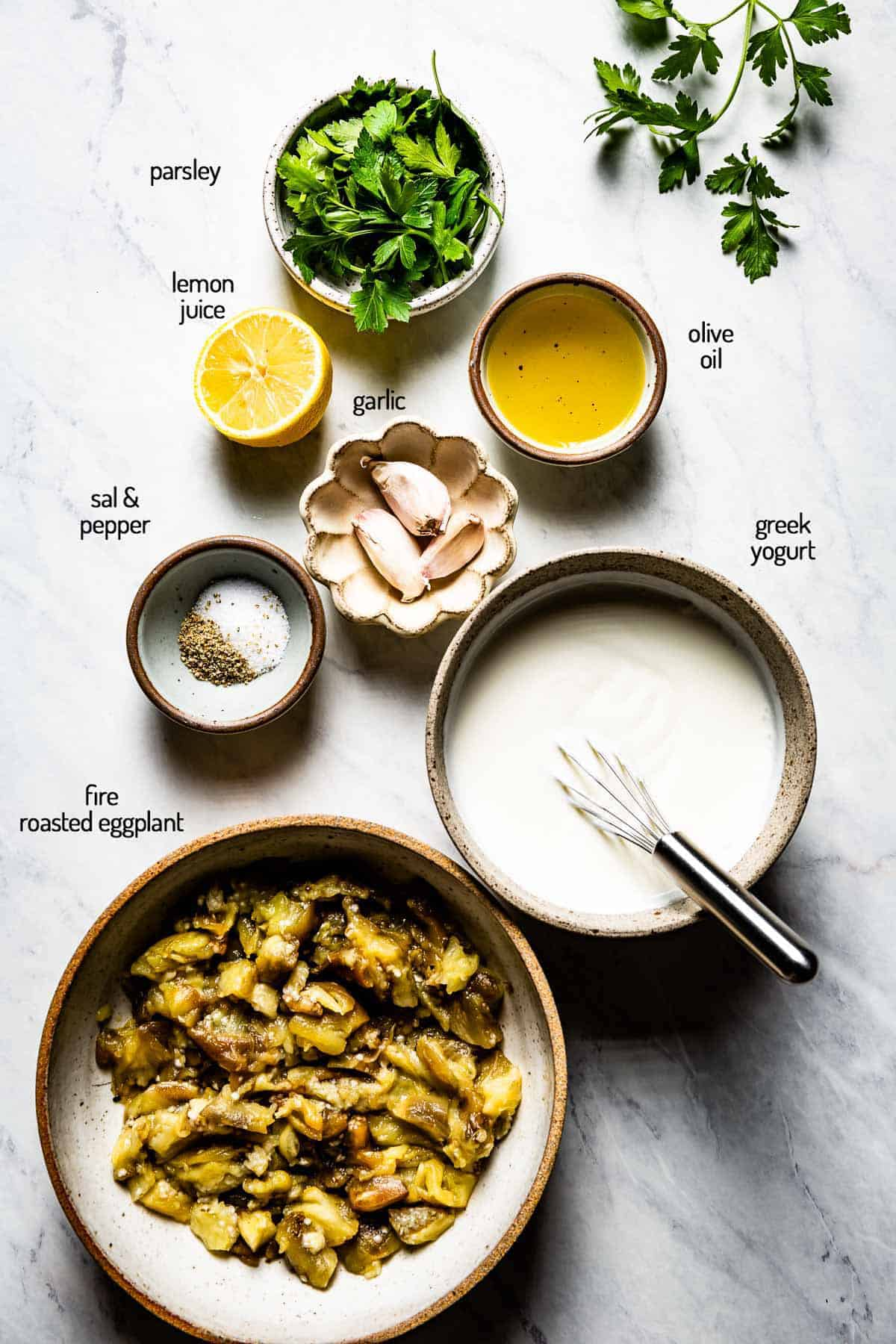 Ingredients for eggplant dip with yogurt
