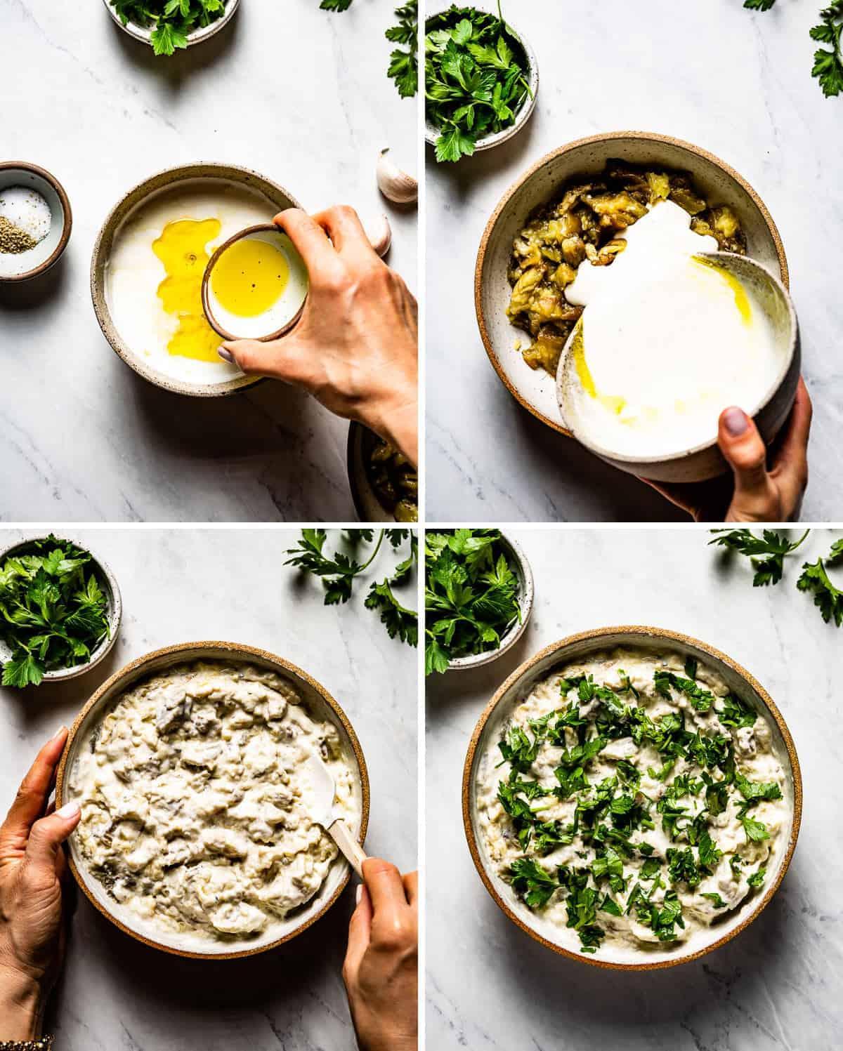 Showing steps of making the yogurt eggplant dip greek style