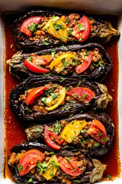 Karniyarik - Turkish stuffed eggplant right after it came out of the oven