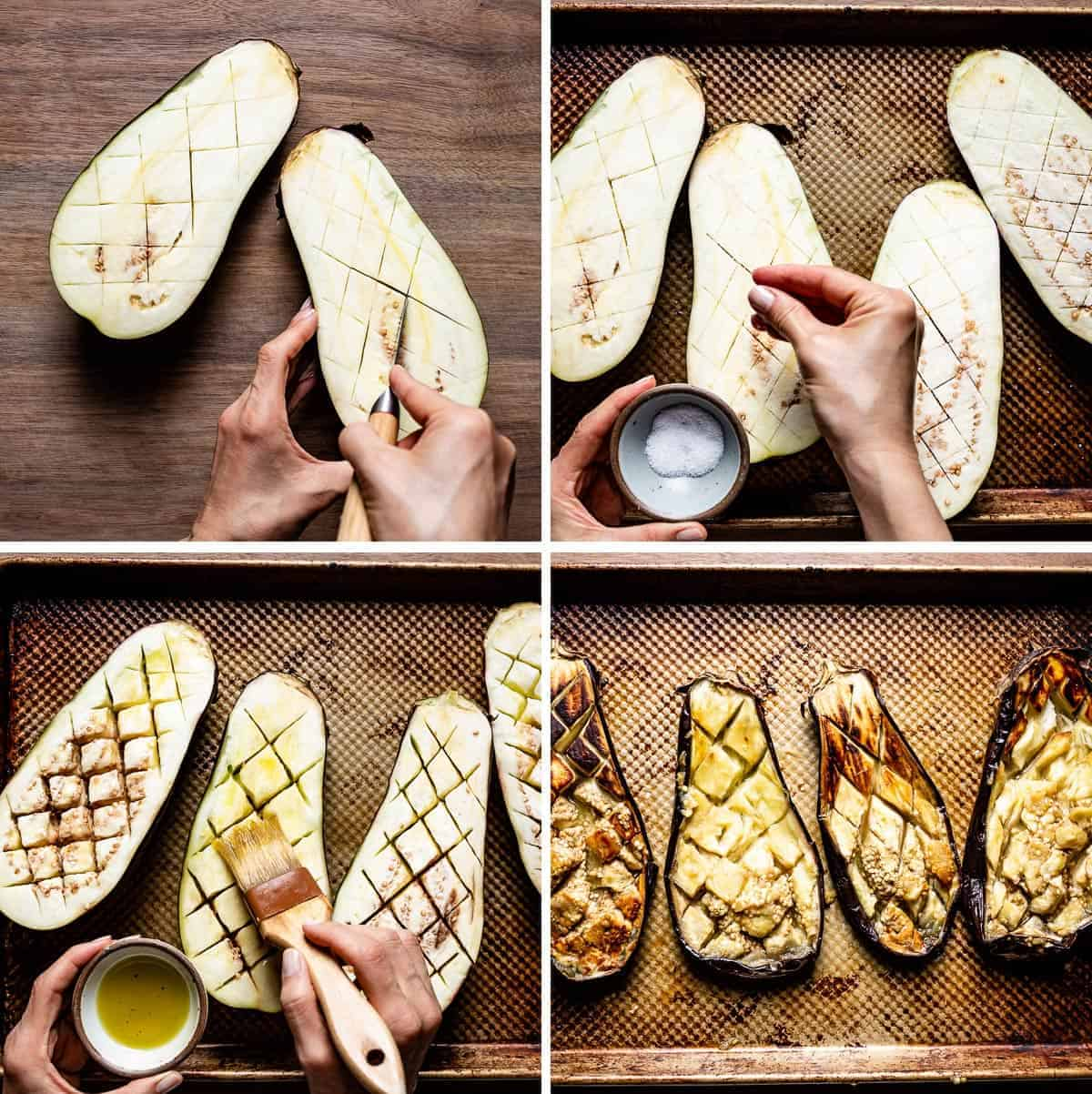 Person showing how to roast eggplant halves with four photos