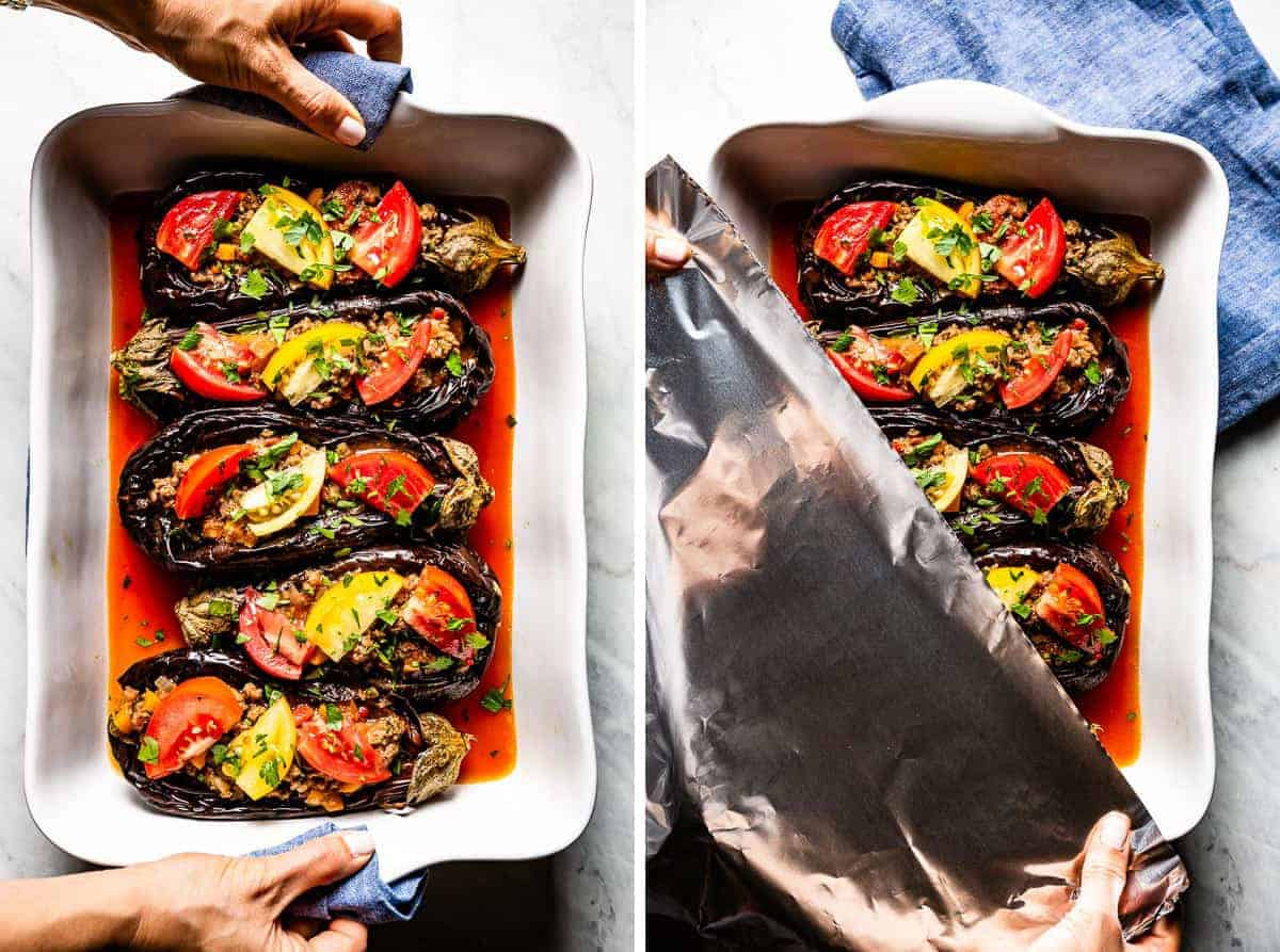 stuffed eggplants garnished with tomatoes in a casserole dish before going into the oven
