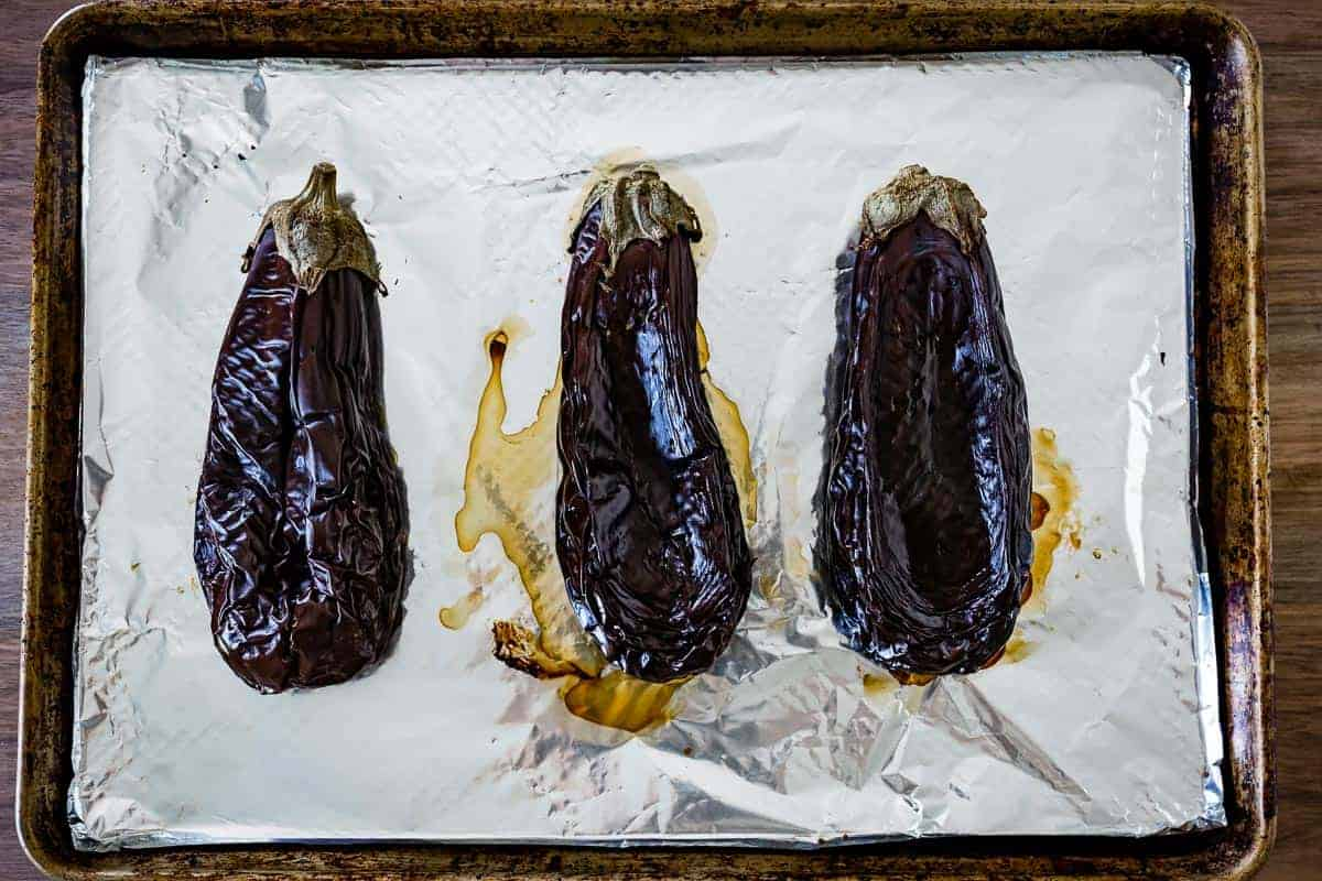 Baked whole eggplants right out of the oven