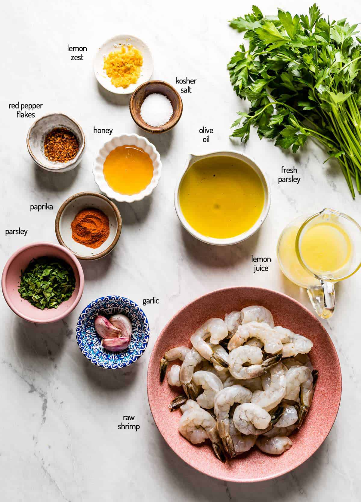 Ingredients for the marinade are photographed from the top view