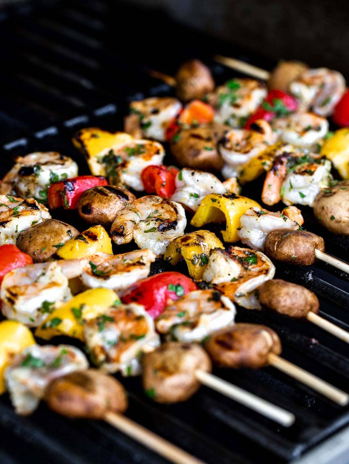 Shrimp Veggie Kabobs on the grill