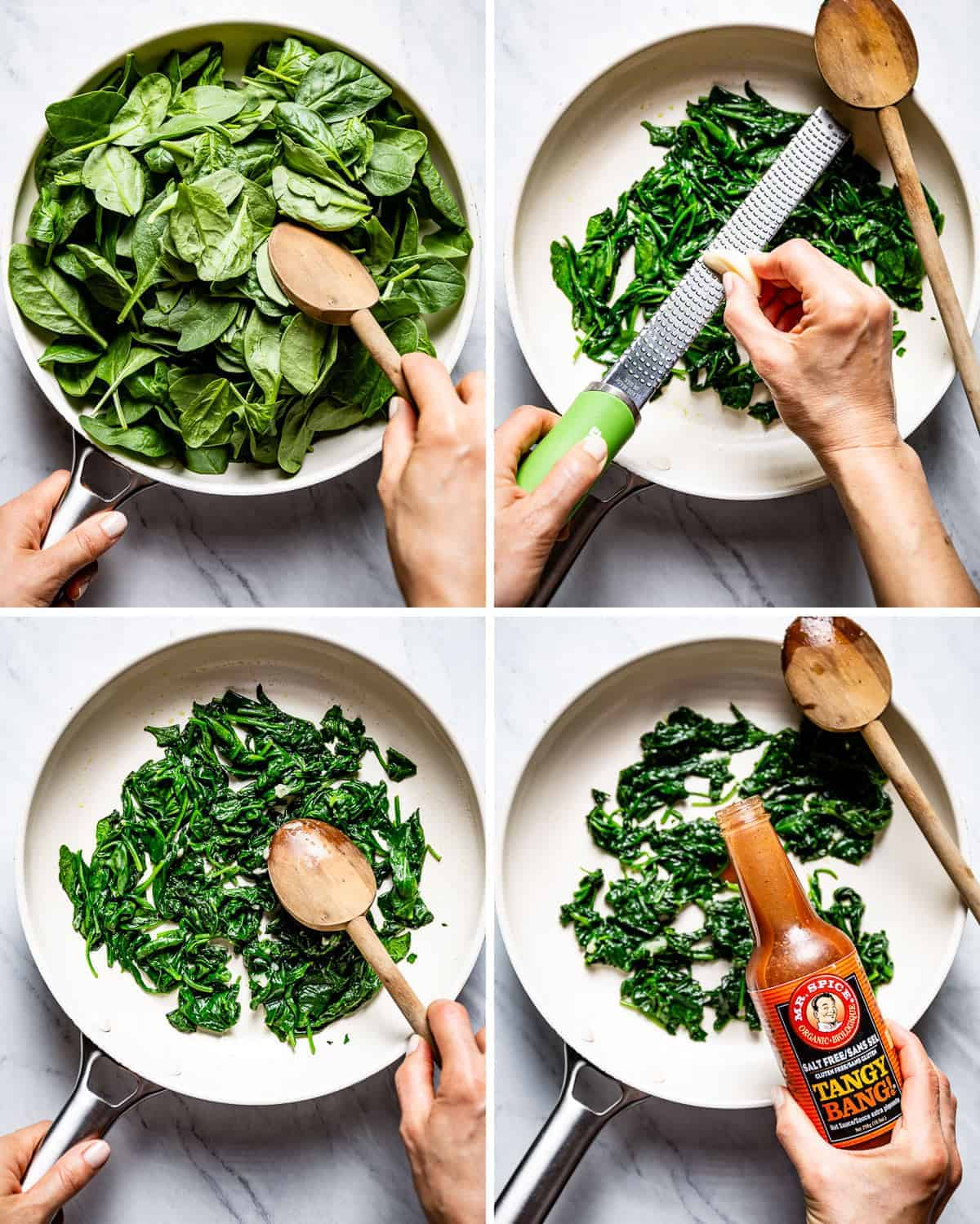 Person showing how to saute spinach