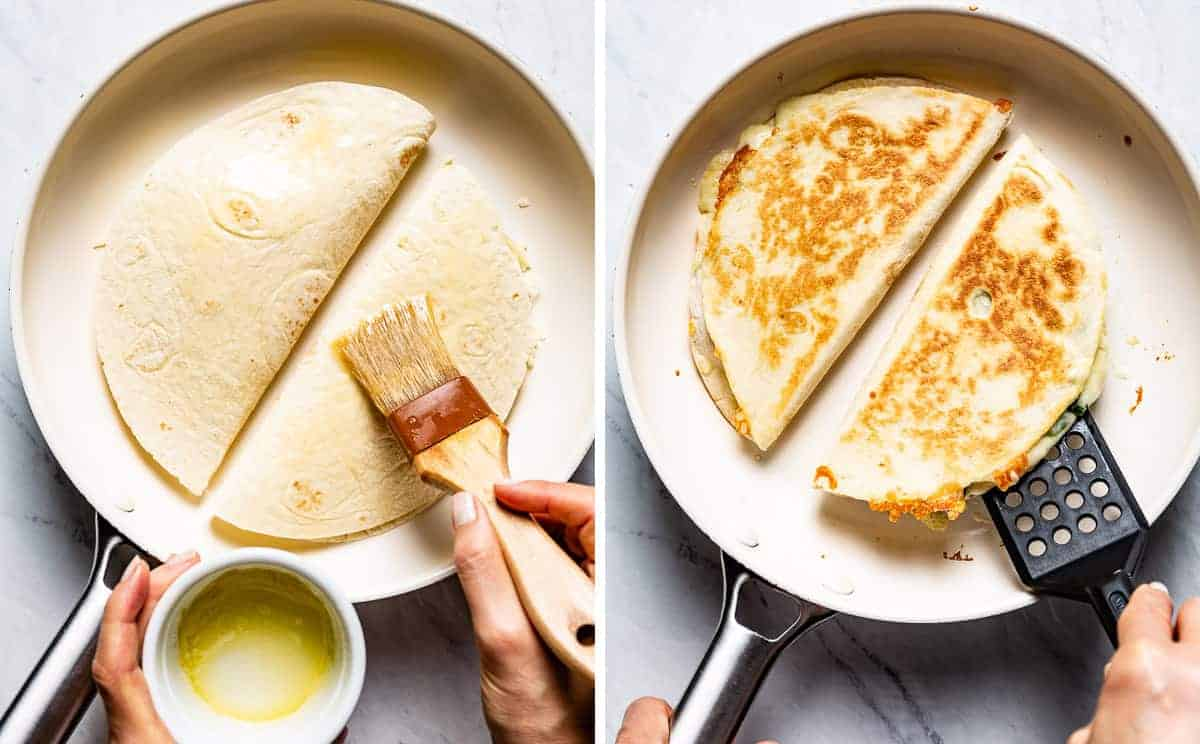 Person showing how to pan sear quesadillas