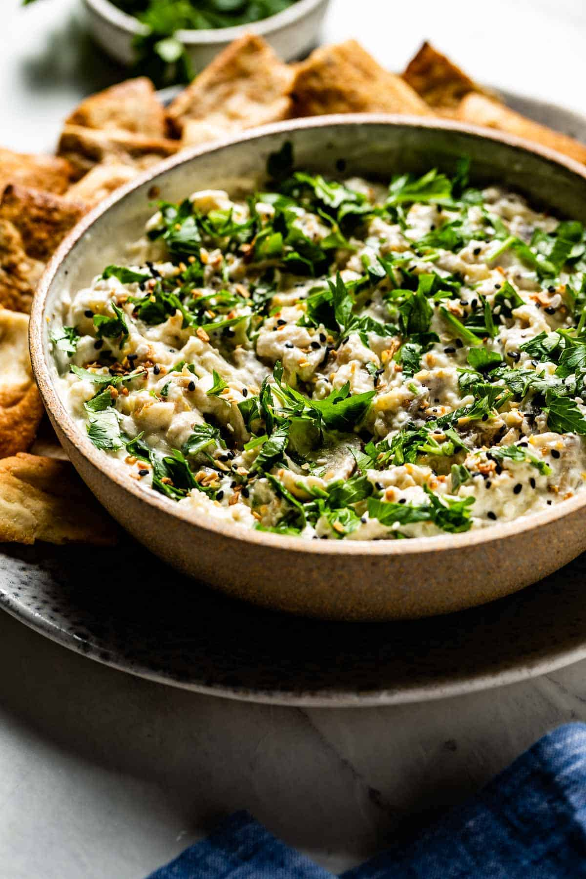 Turkish Eggplant Dip on a plate with chopped parsley on top