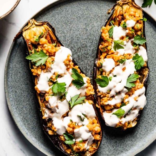 Vegetarian Stuffed Eggplant Halves on a plate