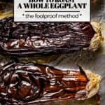 Whole roasted eggplants on a sheet pan with text on the image