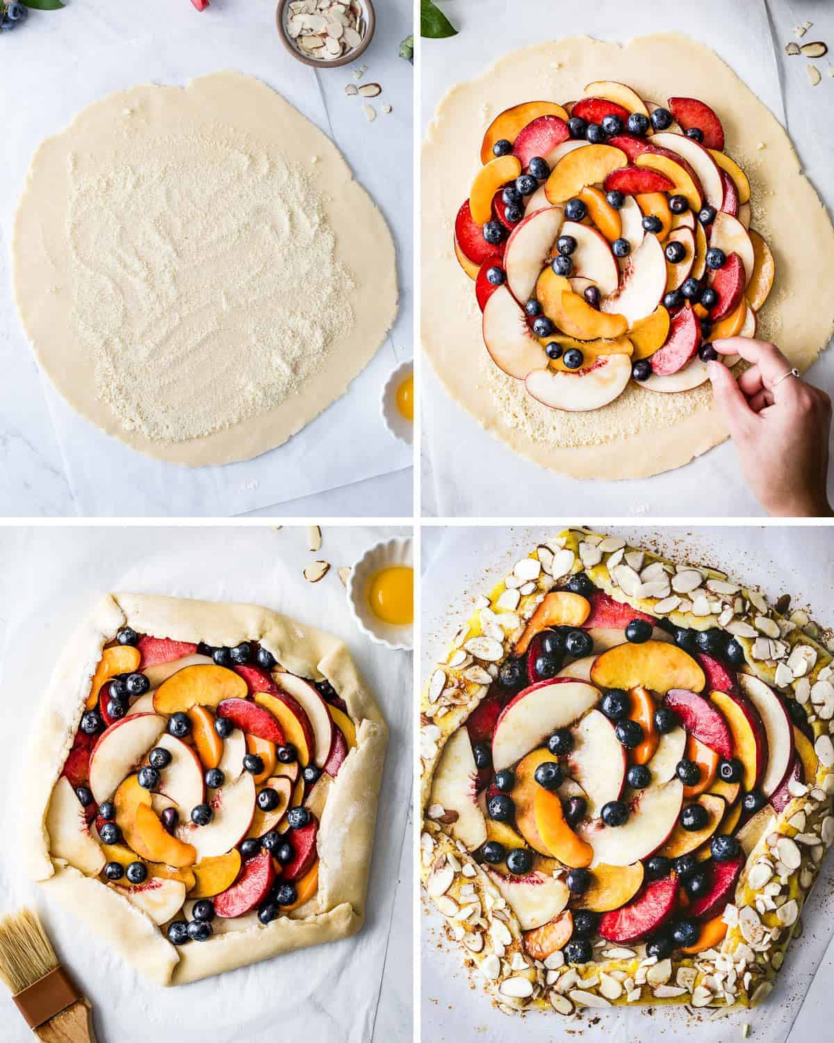 Showing how to make peach blueberry galette with step by step photos