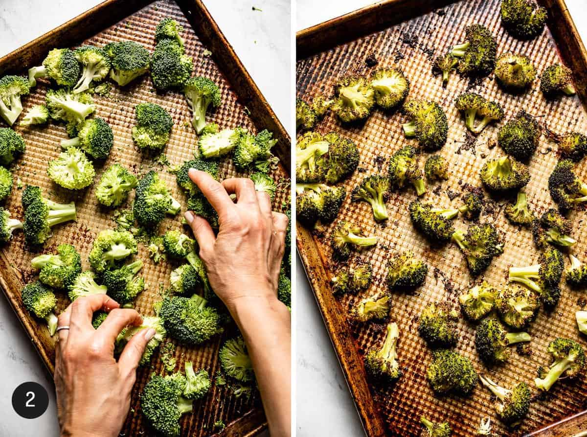 Person roasting broccoli showing with 2 images