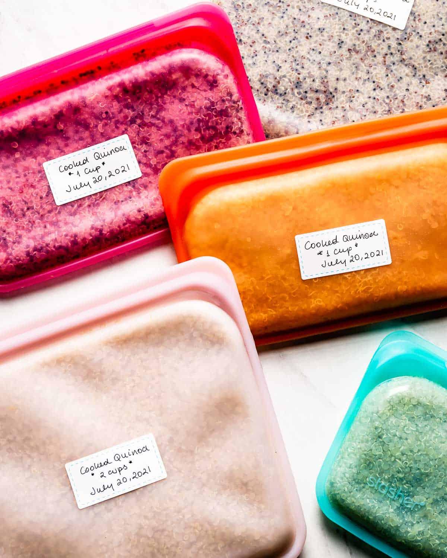 Batch-cooked quinoa in freezer bags