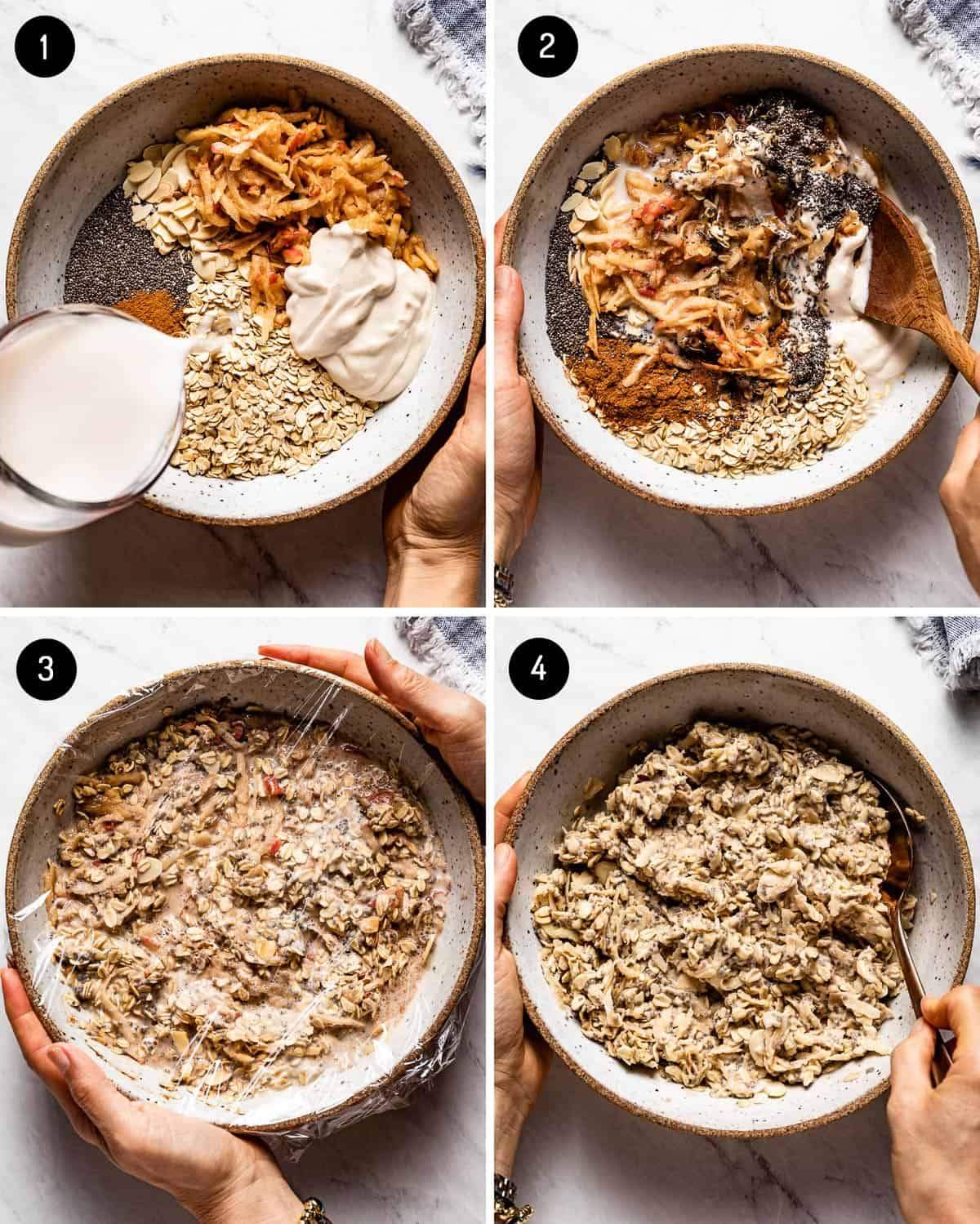 Steps showing how to make overnight muesli in four images