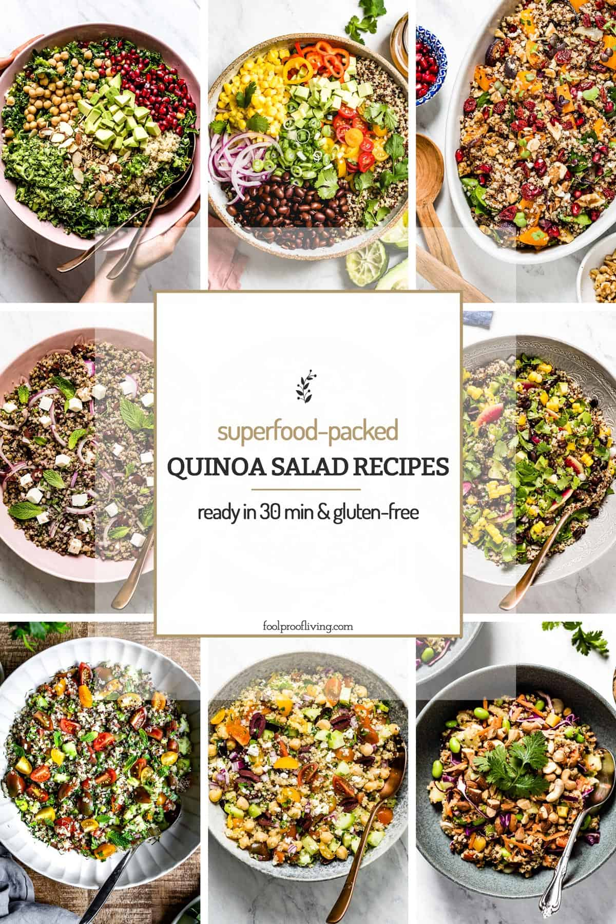 Quinoa Salad recipes placed in a collage with text on the image