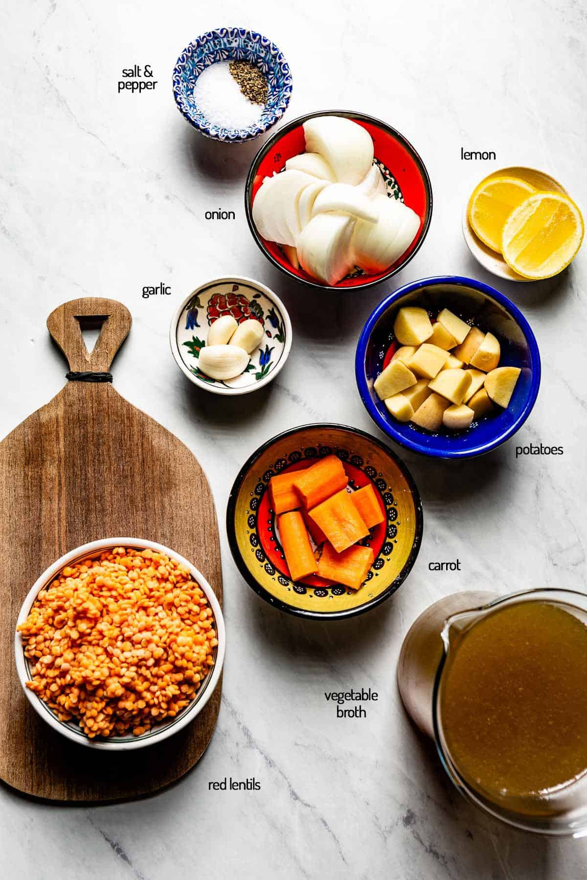 Ingredients for the recipe are placed in small bowls