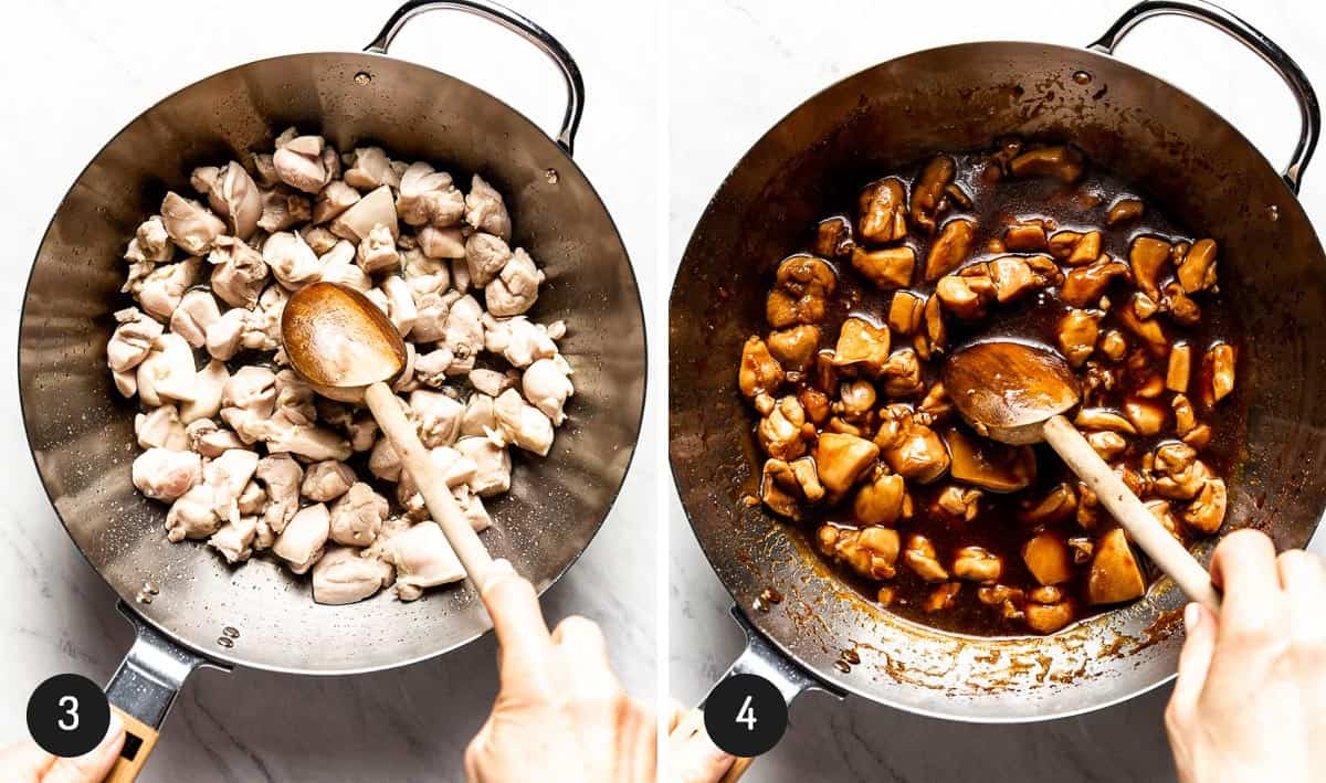Person sauteing chicken with and without sauce showing it in two images