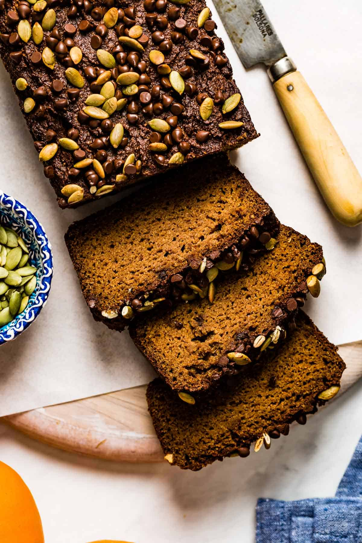 Gluten Free Pumpkin Bread with almond flour sliced from the top view
