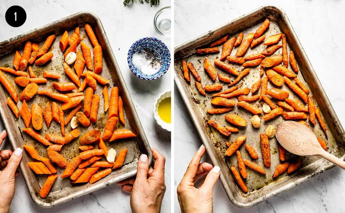 carrots being roasted on a sheet pan