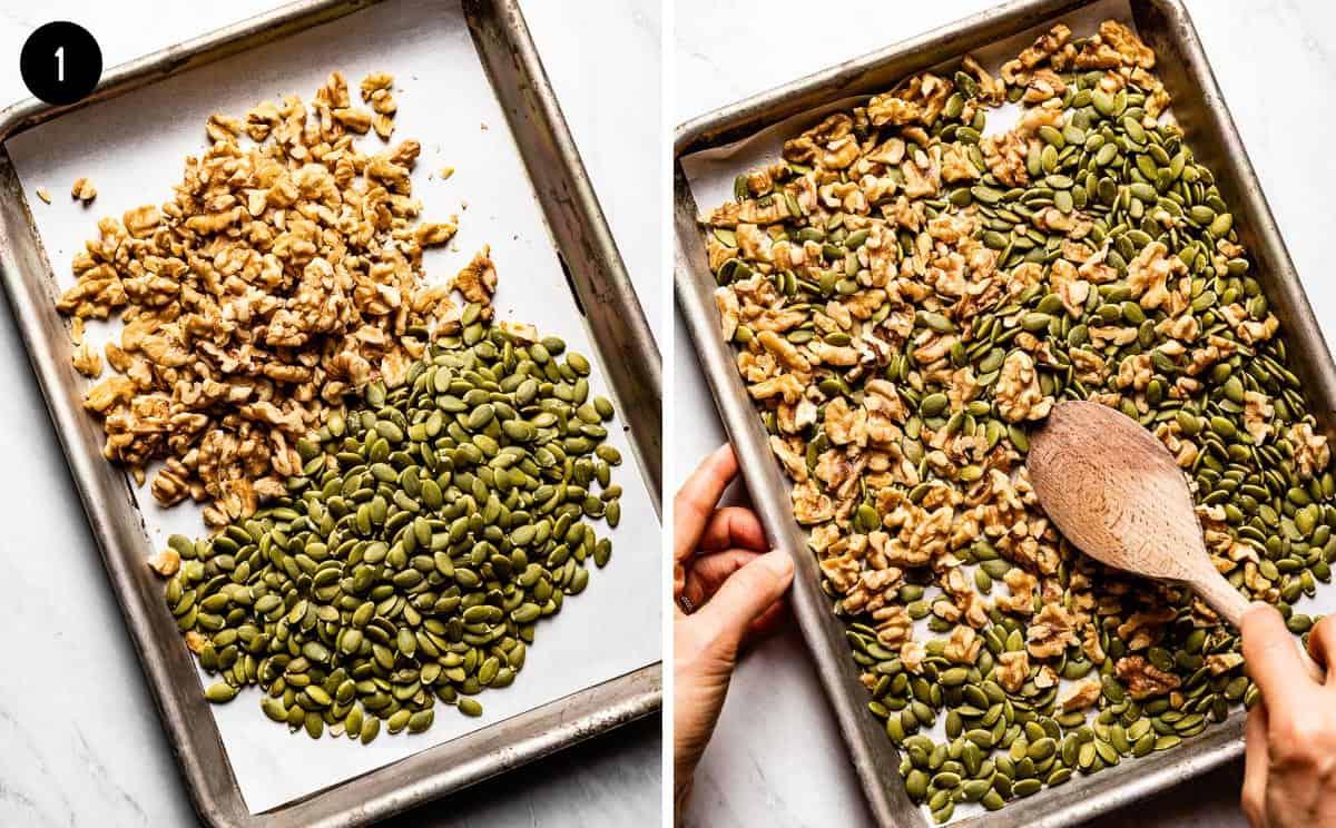 walnuts and pumpkin seeds on a baking sheet