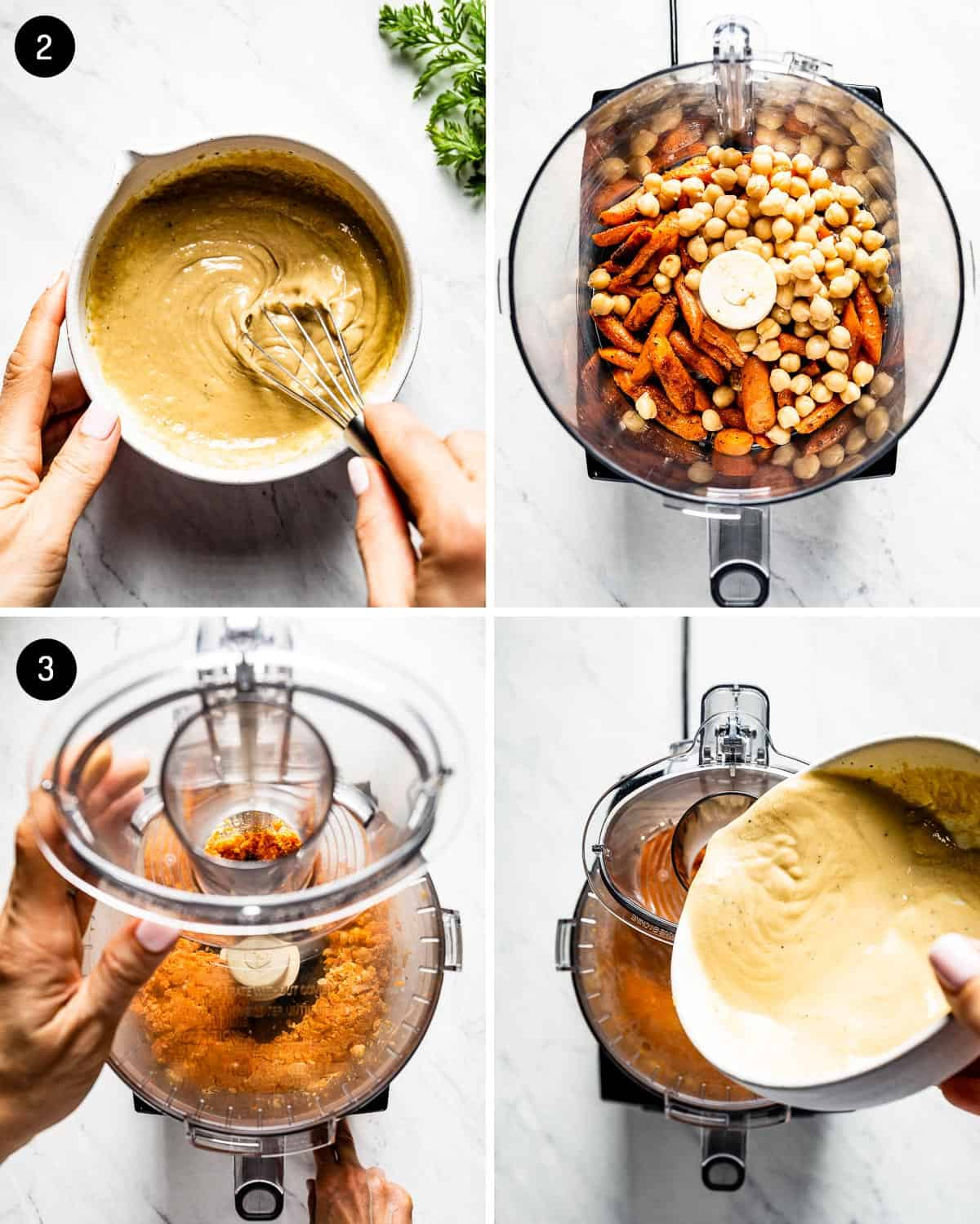 person showing steps of making carrot hummus in four photos