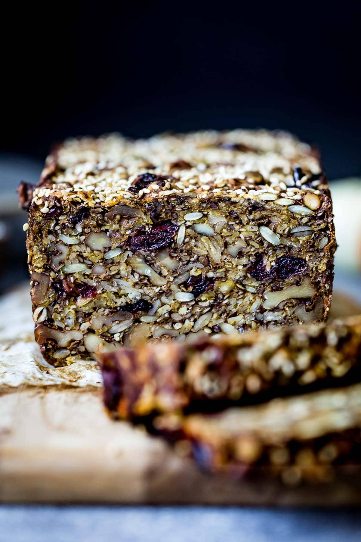 healthy nut and seed bread sliced from the front view